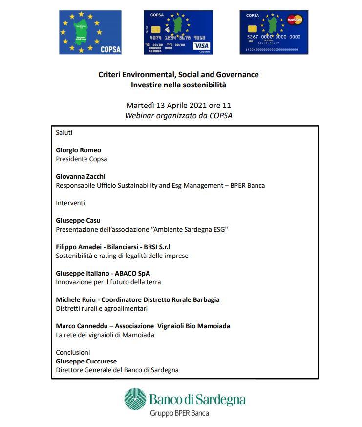 Evento sostenibilità del 13 aprile